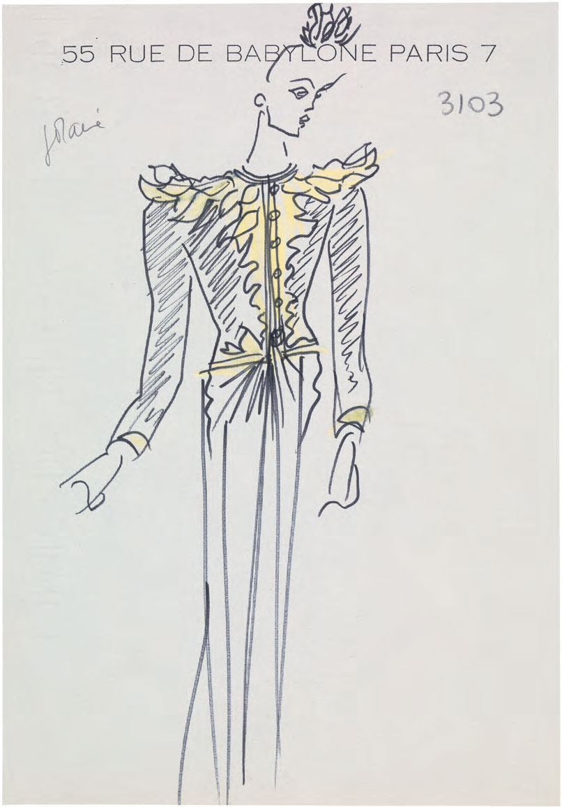 Original sketch for a long evening outfit with headdress of gold flowers and leaves