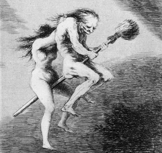 Detail from Linda Maestra (1799) from Los Caprichos by Francisco Goya