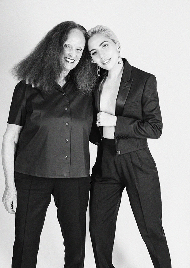 Grace Coddington and Lady Gaga. Image by Lady Gaga in Tiffany & Co.'s new campaign. Art direction by Grace Coddington. Image by Hanna Besirevic