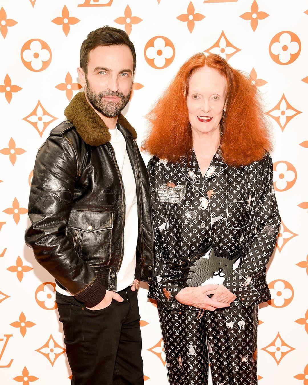 Grace in another version of her Louis Vuitton pajamas with Nicolas Ghesquiere