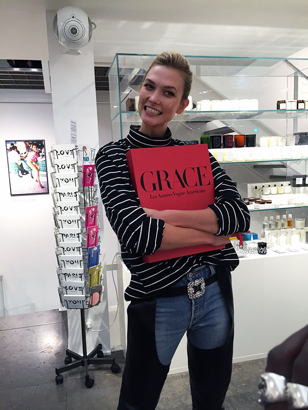 Karlie Kloss with her new Grace book at Colette, Paris, 2016