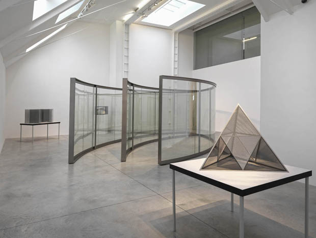 Dan Graham pavilion and model from his 2012 show at the Lisson Gallery, London