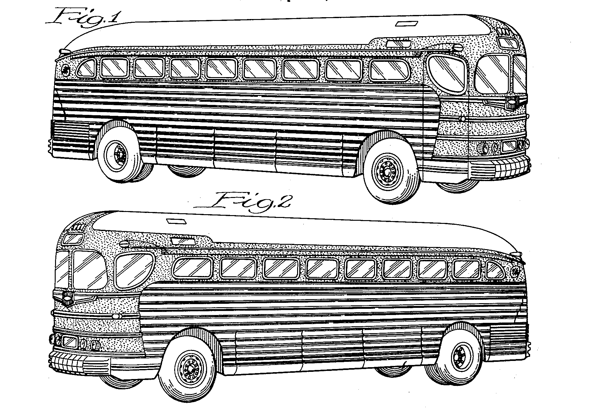 Greyhound Motor Coach, Raymond Lowey, for Greyhound Corporation, 1940/1941. Patent Number: USD 127,174, U.S. Patent Office - from Patented