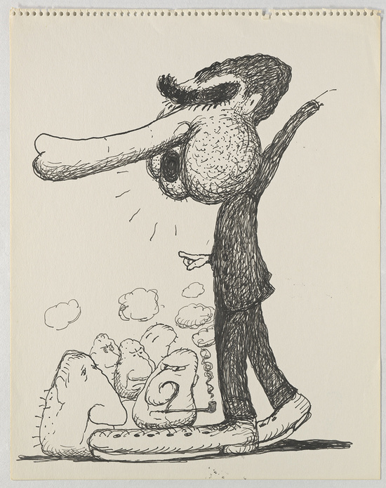 Untitled (Poor Richard) (1971) by Philip Guston. Image courtesy of Hauser & Wirth