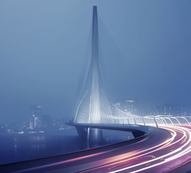 Zaha Hadid's Danjiang Bridge, 2015. © Zaha Hadid Architects