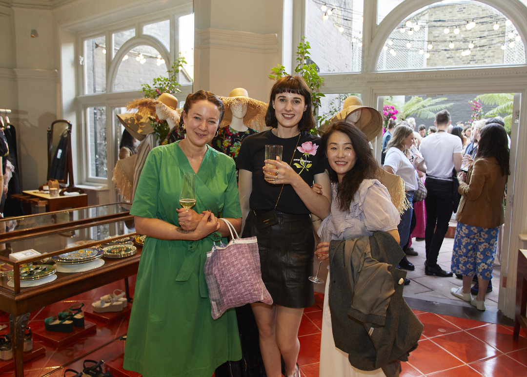 Harriet Slaughter, Emma Weaver and Frida Kim at our Blooms launch