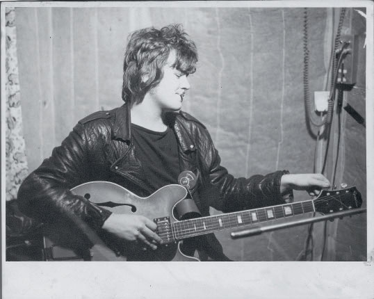 Stephen Harris with his Epihone guitar in 1975