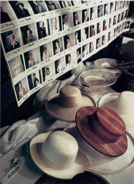 Series of Polaroid shots and 'hat' table, backstage at the Inter-Continental hotel, Spring/Summer 1994 haute couture collection, Marie-Claire (Singapore), May 1994 (photograph by Bertrand Marignac). As reproduced in Yves Saint Laurent Accessories