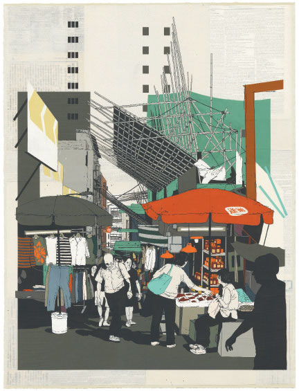 Evan Hecox, Street Market, 2018, gouache and acrylic on paper, as reproduced in Chicken and Charcoal