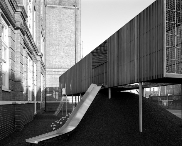 Chisenhale Primary School playground by Asif Khan. Photograph by Hélène Binet