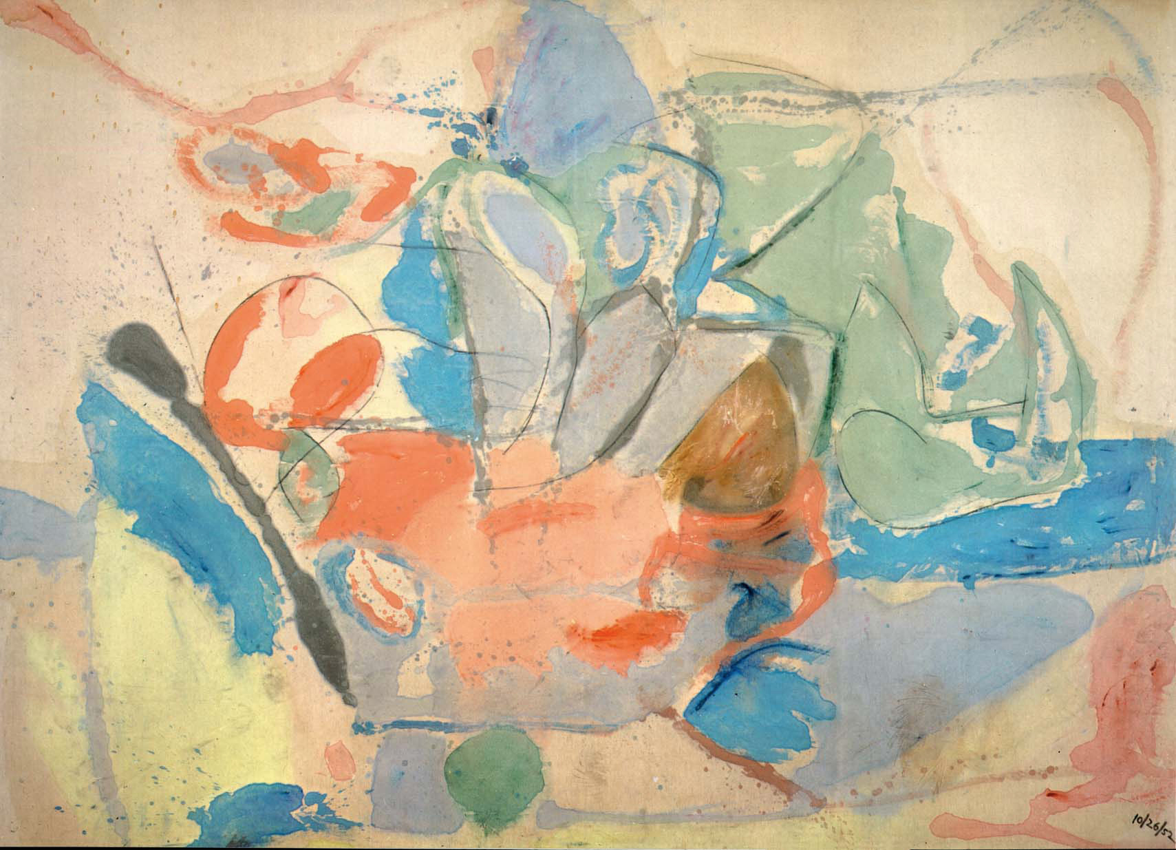 Mountains and Sea (1952) by Helen Frankenthaler. As reproduced in Art in Time