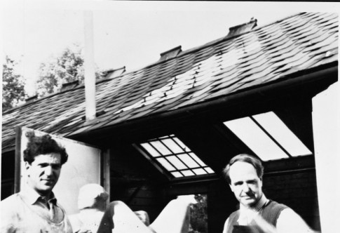 Caro with Henry Moore at Moore's studio in Much Hadham, Hertfordshire, c. 1952, as featured in our book Caro