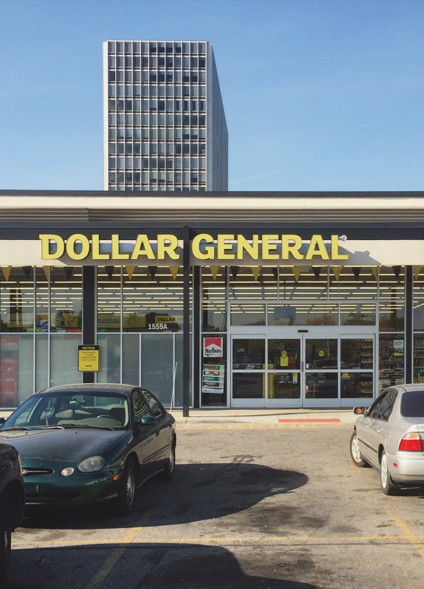 Erik Herrmann, Dollar General at Lafayette Park, 2015. From The Architectural Imagination's My Detroit Postcards