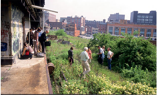James Corner Field Operations, Diller Scofidio + Renfro, and Piet Oudolf visit the High Line in May 2004