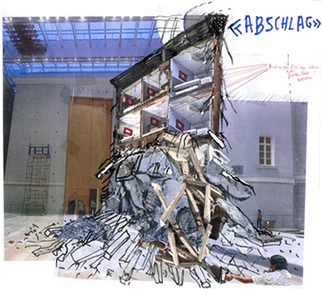 "Thomas Hirschhorn, Preparatory sketch for ""Abschlag"", 2013. Courtesy the artist."