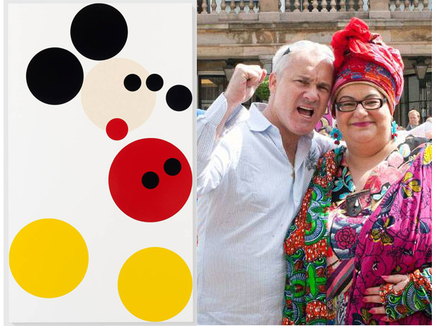 Mickey (2012) by Damien Hirst; Hirst and the Kids Company founder Camila Batmanghelidjh