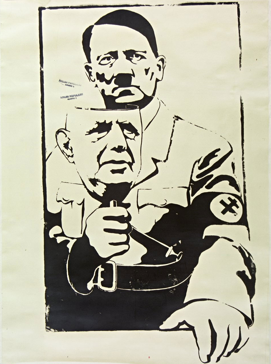 Atelier Populaire's De Gaulle and Hitler poster, 1968