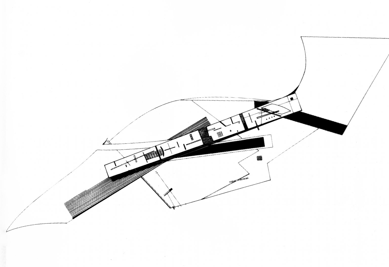 Drawing for the Peak Leisure Club, 1980-83 by Zaha Hadid. © Zaha Hadid Architects
