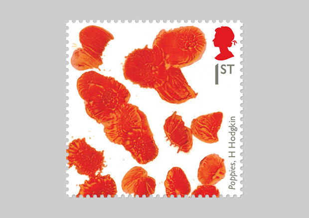 Howard Hodgkin's poppies stamp for The Royal Mail 2015