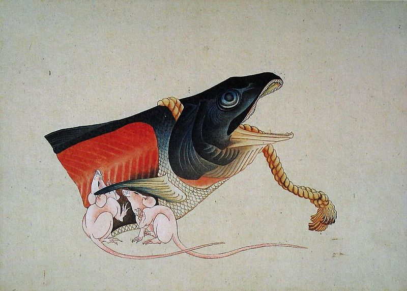 Salmon head and trats (1833-39) by Hokusai. As reproduced in our Hokusai monograph