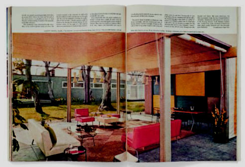 The Holiday House article from Holiday magazine, featuring George Nelson's architecture, Herman Miller furniture, and photography by Ezra Stoller, May, 1951.