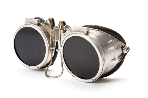 A pair of safety aluminium and rubber safety goggles from the 1960s used for welding Image courtesy of Design Museum Holon