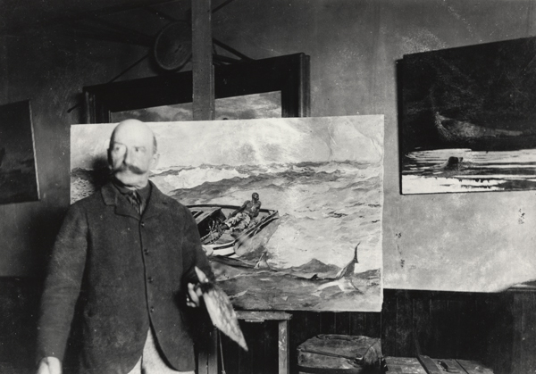 Winslow Homer with 'The Gulf Stream' in his studio, ca. 1900, gelatin silver print, by an unidentified photographer. Image courtesy of Bowdoin College Museum of Art