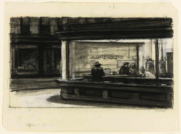 Study for Nighthawks, (1941 or 1942) by Edward Hopper