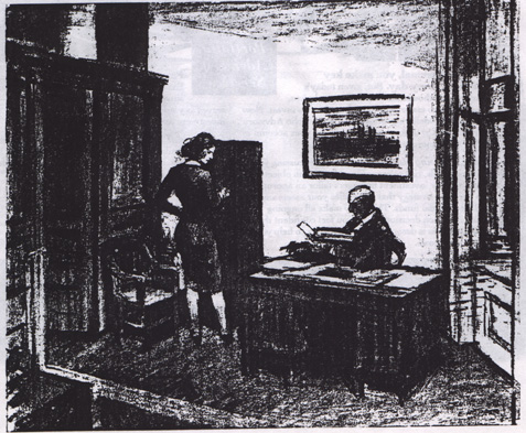 Preparatory drawing for Office at Night (1940) by Edward Hopper