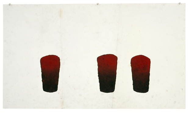 Roni Horn, As VI, 1987-88, Red pigments and varnish on paper