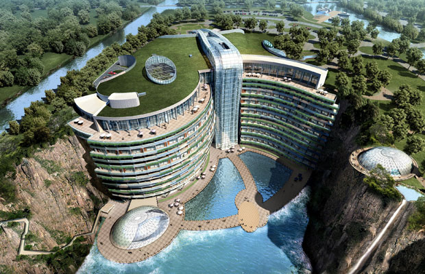 The Chinese hotel with a built-in waterfall