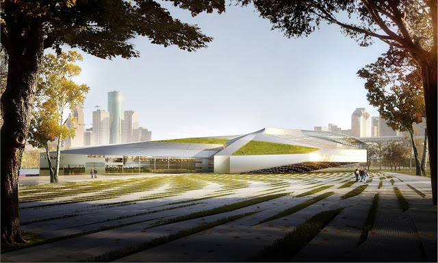Renderings or MA2's Houston Library and Exhibition Center. Image courtesy of MA2