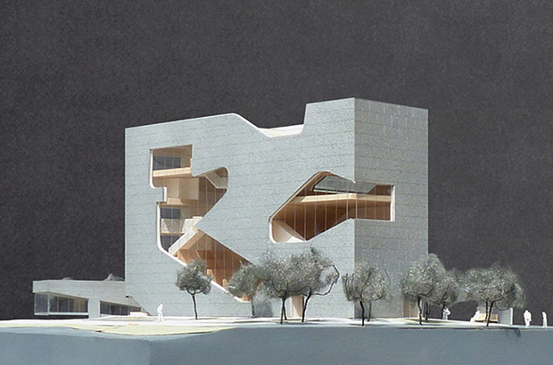 An early rendering of the Hunters Point Community Library in Long Island City. Image courtesy of Steven Holl