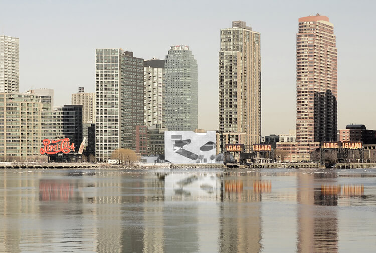 An early rendering of the Hunters Point Community Library in Long Island City, as viewed from Manhattan. Image courtesy of Steven Holl