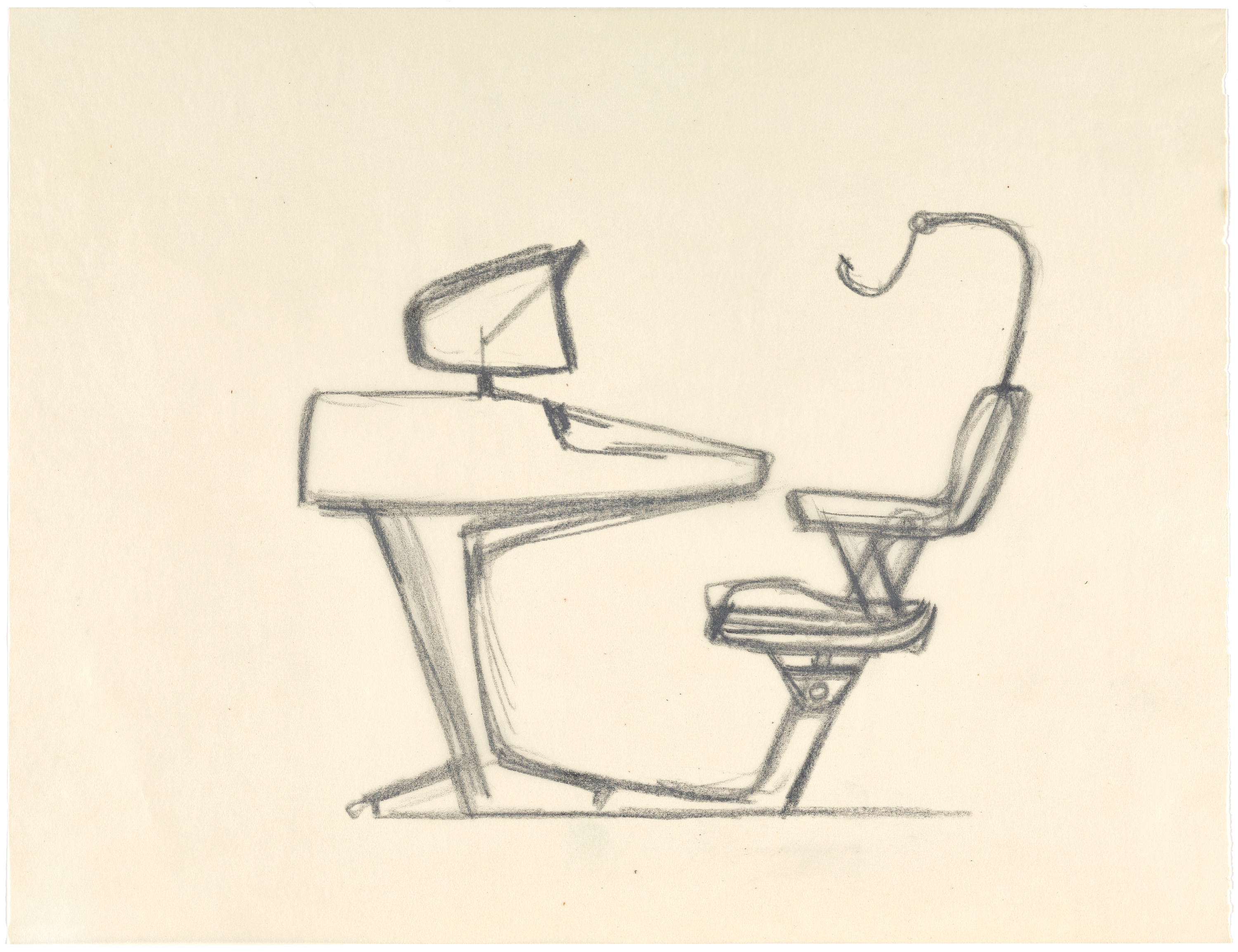 Design for an IBM work station by Gary Huxtable, 1956. Courtesy of the J Paul Getty Trust and Cantor Arts Center