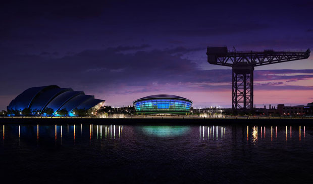 The SSE Hydro (centre) and the Clyde Auditorium (left)