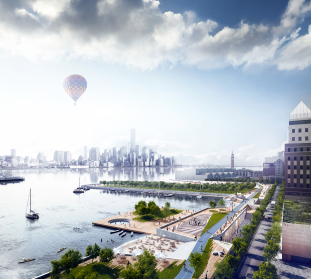Ideas for rebuilding Hoboken after Hurricane Sandy, by OMA. Image courtesy of RIBA