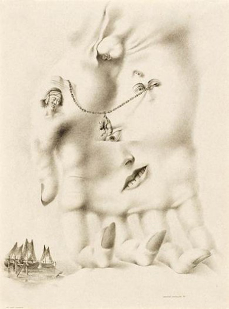 Her Eyes Trembled (1939) by Federico Castellón. From Drawing Surrealism