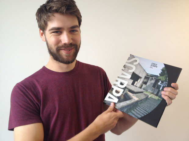 Phaidon editor Tom Wright with a working copy of Carlo Scarpa