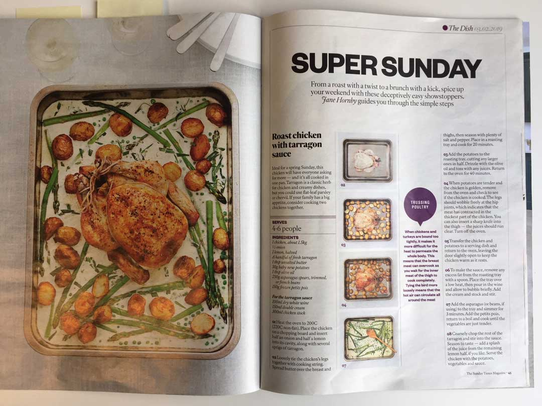 The Sunday Times picks Jane Hornby's dishes for its classic weekend menu