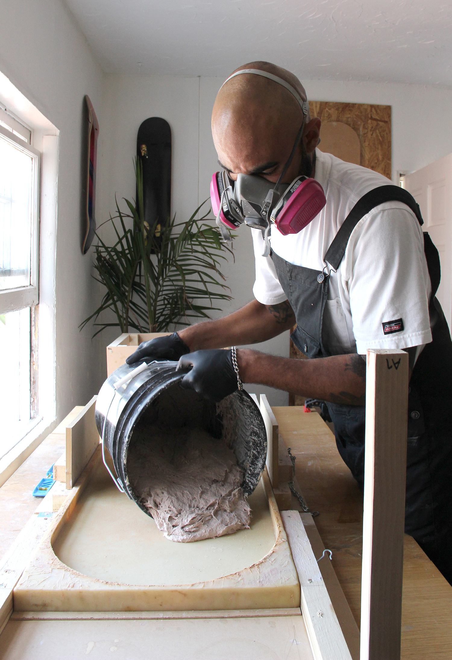 J. Byron-H creating his Concrete Stools
