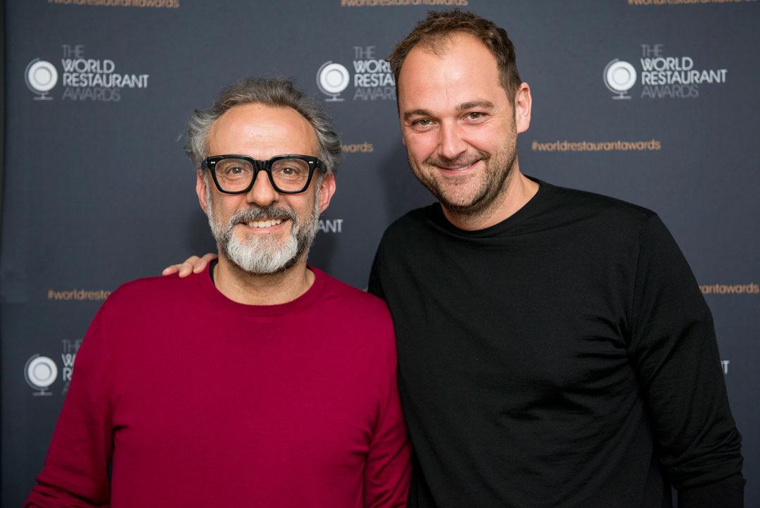Massimo Bottura and Daniel Humm, at the launch yesterday