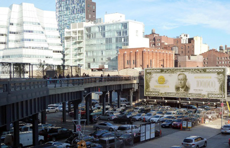 John Baldessari's <em>The First $100,000 I Ever Made</em> is in the same district as Frank Gehry's IAC Building (far left)