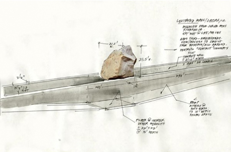 Michael Heizer's sketch for Levitated Mass