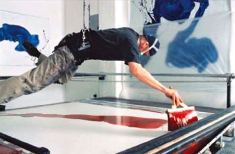 James Nares swings as a pendulum to paint his brushstroke canvases