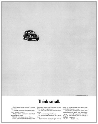 VW Beetle Think Small campaign (1959)