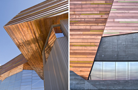 Shimmering copper panels on the exterior of the museum. Photography by Stuart Ruckman (left) and  Ben Lowry (right)