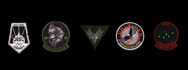 Five Classified Aircraft Patches (2007) by Trevor Paglen
