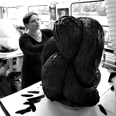 Artist Kate MccGwire at work in her studio