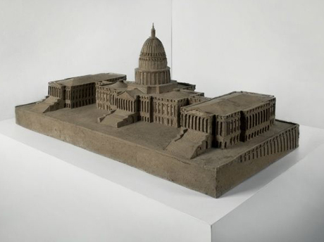 Alistair Mackie, Mud Hut (2005) mud, straw, and horse manure 135cm x 76cm x 76cm (An architectural model of the Capitol building in Washington)